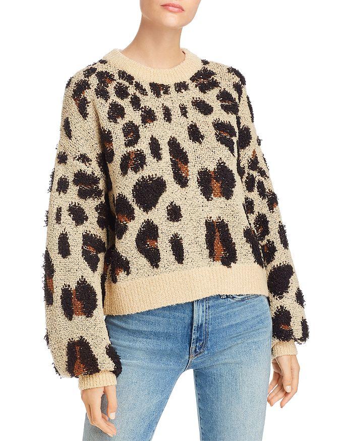 Bardot - Balloon-Sleeve Leopard-Pattern Sweater