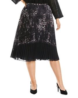 Estelle Plus - Pleated Animal-Print Skirt