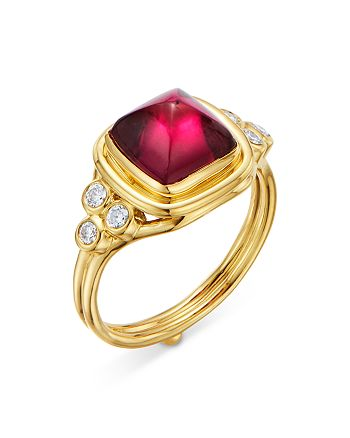 Temple St. Clair - 18K Yellow Gold High Classic Sugar Loaf Ring with Rubelite & Diamonds