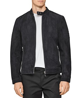 REISS - Marko Suede Slim Fit Racer Jacket