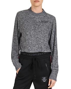 The Kooples - Cropped Marled Logo-Detail Sweatshirt