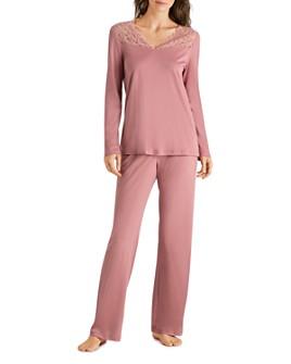 Hanro - Moments Lace-Trim Cotton Long Sleeve Pajama Set