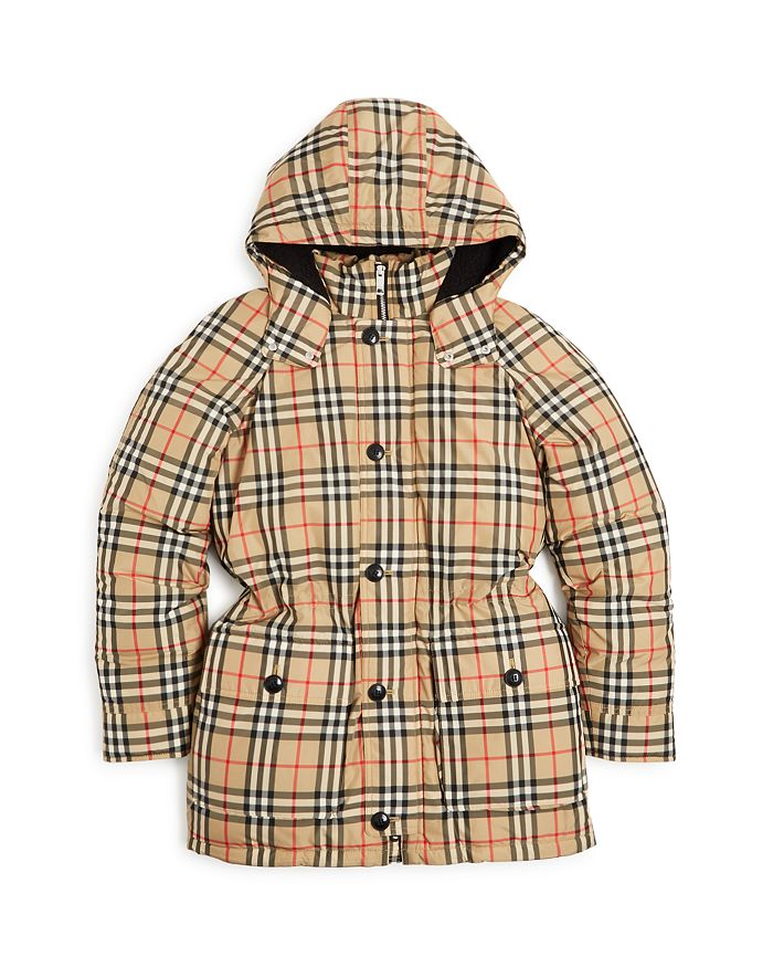 Burberry - Girls' Vintage Check Down-Filled Hooded Puffer Jacket - Little Kid, Big Kid