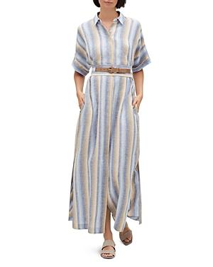 Lafayette 148 Dresses RETHA STRIPED LINEN SHIRT DRESS