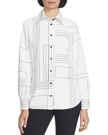 Lafayette 148 New York - James Printed Button-Front Blouse