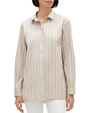 Lafayette 148 Tops EVERSON STRIPED BUTTON-FRONT BLOUSE