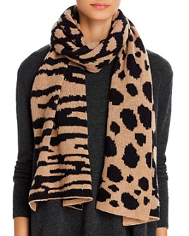 AQUA - Mixed Animal Print Cashmere Scarf - 100% Exclusive