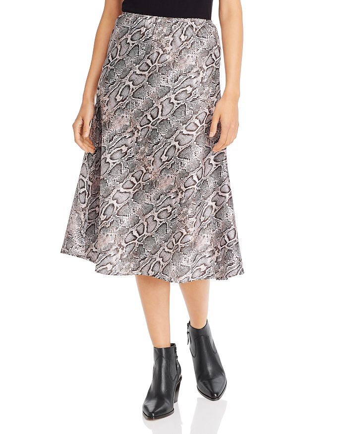 FRENCH CONNECTION - Snakeskin-Print A-Line Midi Dress