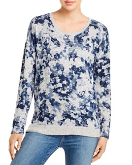 Cupio - Scoop Neck Printed Pullover Sweater