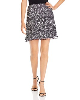 FRENCH CONNECTION - Sequin-Embellished A-Line Mini Skirt
