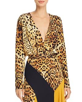 Cushnie - Crossover Leopard-Print Silk Bodysuit