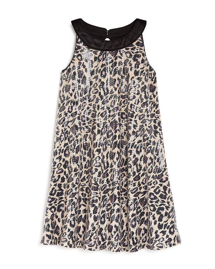 US Angels - Girls' Sequined Cheetah Print Dress - Little Kid