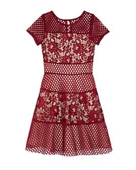 US Angels - Girls' Floral Lace Paneled Dress - Big Kid