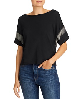 LNA - Shimmy Chain-Fringed Tee