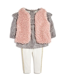 Miniclasix - Girls' Sherpa Vest, Ruffled Top & Sparkly Leggings Set - Baby