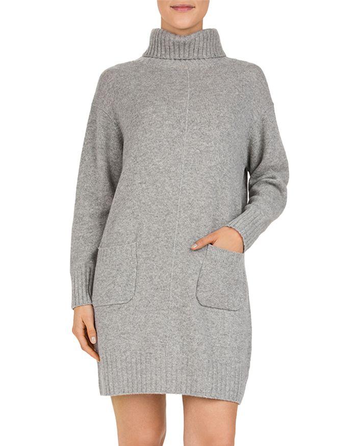 Gerard Darel Dinah Wool & Cashmere Turtleneck Sweater Dress In Gray