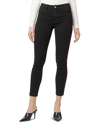 Sanctuary - Social Standard Velvet-Stripe Ankle Jeans in Eyeliner Rich Black