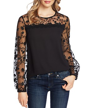 CeCe - Mixed-Media Floral Embroidered Top