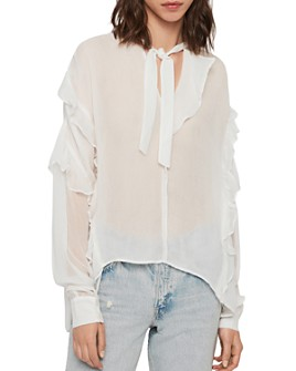 ALLSAINTS - Sofia Ruffled Tie-Neck Top