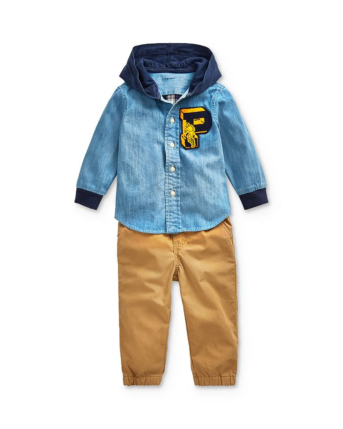 Ralph Lauren - Boys' Hooded Chambray Shirt & Twill Pants Set - Baby