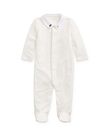 Ralph Lauren - Unisex Embroidered Velour Footie - Baby