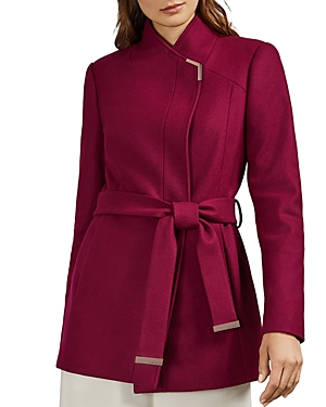 Ted Baker Drytaa Belted Short Coat In Pink