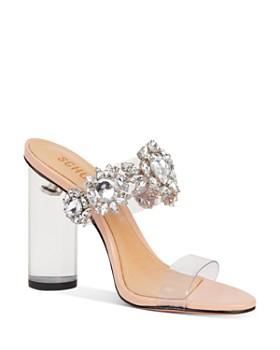 SCHUTZ - Women's Blanck Crystal-Embellished Clear Block Heel Sandals