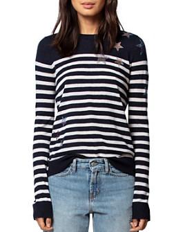 Zadig & Voltaire - Pluie Pluie d'Étoile Striped Featherweight Cashmere Sweater