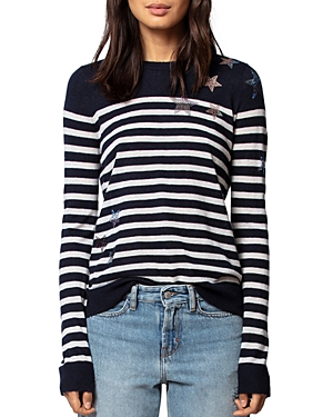 Zadig & Voltaire Sweaters PLUIE D'ETOILE STRIPED FEATHERWEIGHT CASHMERE SWEATER