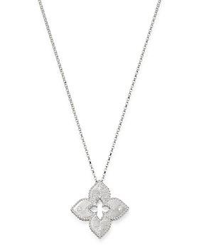 "Roberto Coin - 18K White Gold Petite Venetian Princess Diamond Pendant Necklace, 17"""