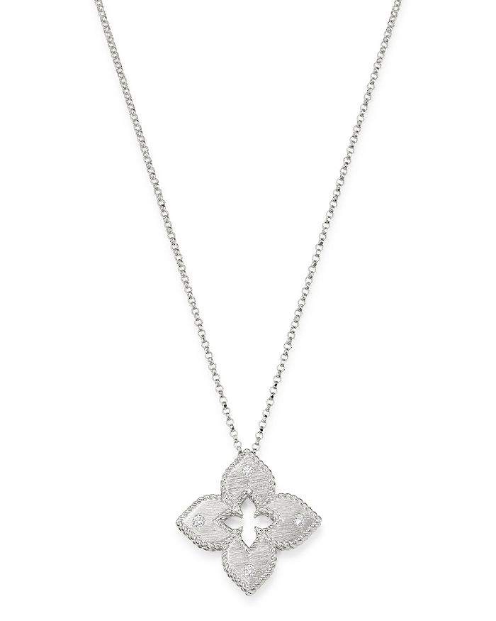Roberto Coin 18K WHITE GOLD PETITE VENETIAN PRINCESS DIAMOND PENDANT NECKLACE, 17