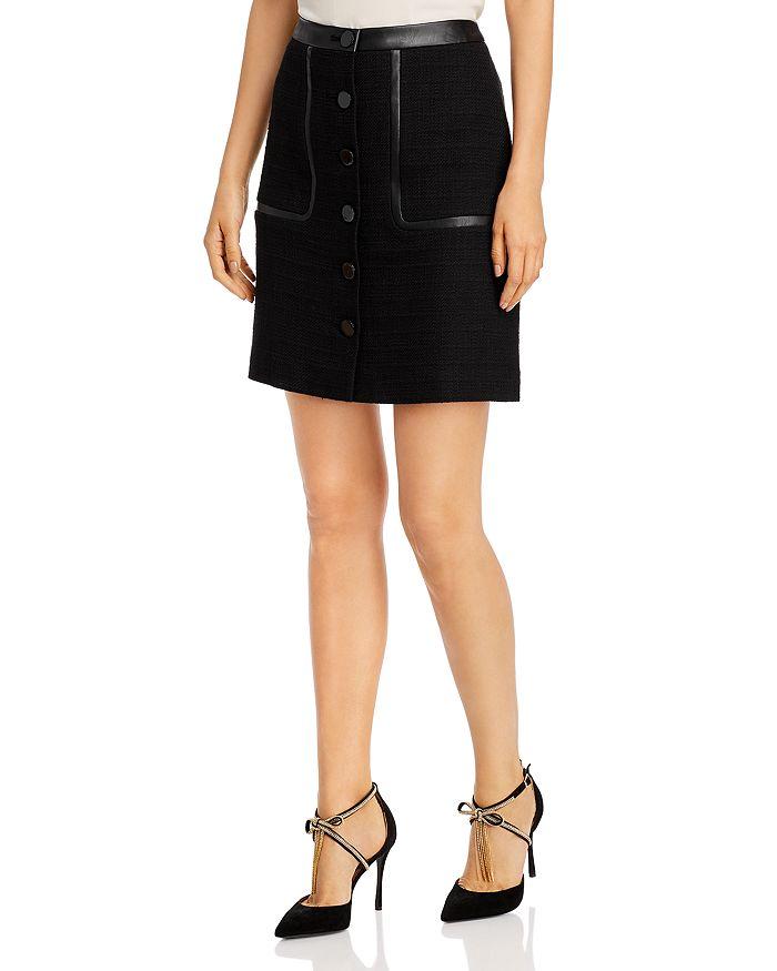 Karl Lagerfeld Faux-Leather Trimmed Tweed Skirt In Black