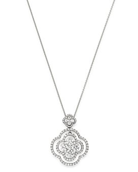 Bloomingdale's - Cluster Diamond Clover Pendant Necklace in 14K White Gold, 2.30 ct. t.w. - 100% Exclusive