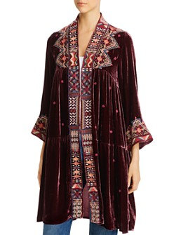 Johnny Was - Ravi Embroidered Velvet Tiered Kimono