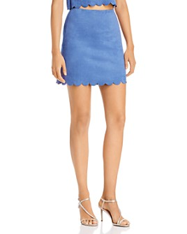 AQUA - Scalloped Faux Suede Skirt - 100% Exclusive
