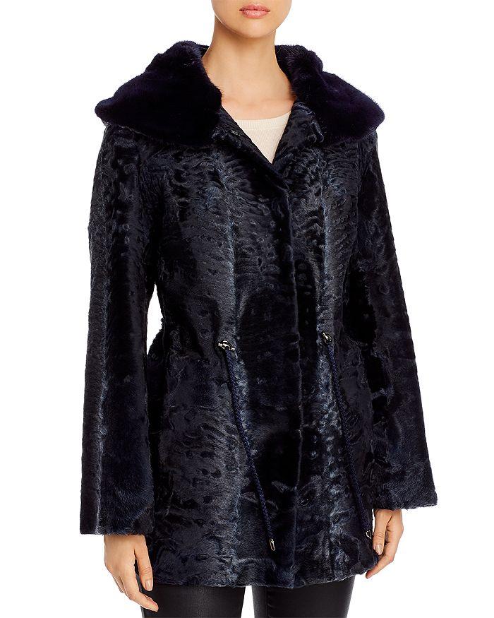 Maximilian Furs - Persian Lamb Shearling Coat with Mink Fur-Lined Hood - 100% Exclusive