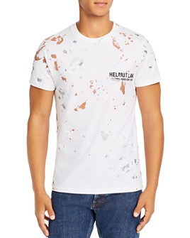 Helmut Lang - Paint-Splattered Embroidered Logo Tee