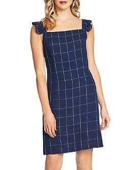 CeCe - Windowpane-Check Ruffle-Strap Dress