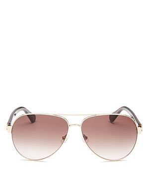 kate spade new york Women's Geneva Brow Bar Aviator Sunglasses, 59mm