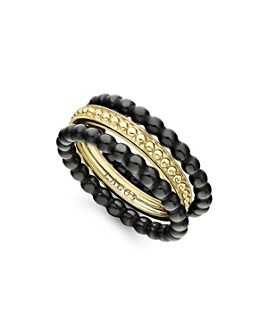 LAGOS - 18K Yellow Gold Caviar Gold Black Ceramic Stacking Rings, Set of 3