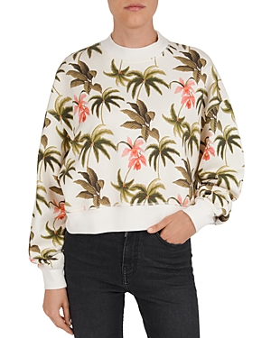 The Kooples Tropical Print Cotton Fleece Sweatshirt-Women