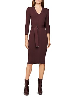 REISS - Alicia Belted Knit Bodycon Dress