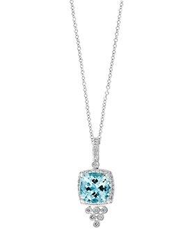 "Bloomingdale's - Aquamarine & Diamond Pendant Necklace in 14K White Gold, 18"" - 100% Exclusive"