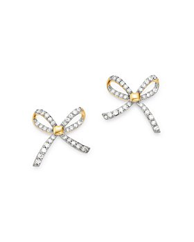 Adina Reyter - 14K Yellow Gold Pavé Diamond Tiny Bow Earrings