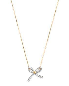 "Adina Reyter - 14K Yellow Gold Pavé Diamond Tiny Bow Necklace, 15""-16"""
