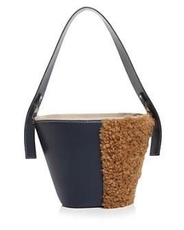 VASIC - Esta Small Leather & Faux Fur Bucket Shoulder Bag