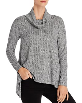 Status by Chenault - Metallic Ribbed Cowl-Neck Sweater