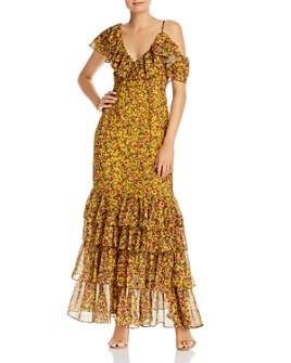 Divine Heritage - Ruffled Cold-Shoulder Floral Maxi Dress