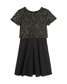 Laundry by Shelli Segal - Girls' Layered-Look Lace Dress - Big Kid