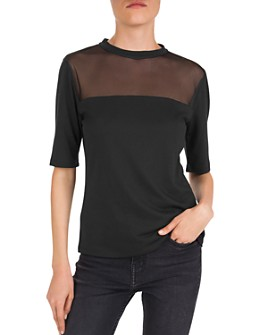 The Kooples - Mesh-Yoke Elbow-Sleeve Jersey Tee